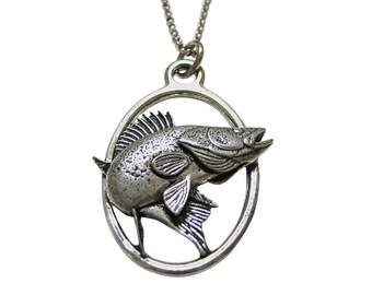 Zander Walleye Fish Large Oval Pendant Necklace