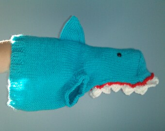 Hand Knit One-Size-Fits-Most Blue Shark Costume for Cats or Small Dogs