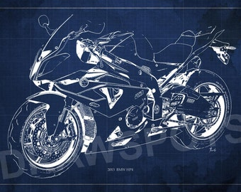 Motorcycle poster BMW HP4 2013 Sport Blueprint, Art Print 14.00x9.63 n and larger sizes, Motorcycle Art print,Digital drawing for men cavei