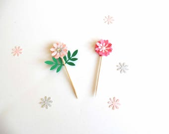 Flower Cupcake Toppers, layered flower cupcake topper, garden party accent, dessert decorated toothpick, 3D flower toothpicks, Mothers day