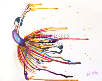 Ballerina Rainbow Digital Print Of My Original Watercolor With Paint Drips