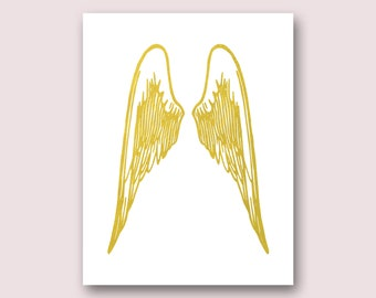 Angel Wings Wall Decor, Angel Wings Print, Gold Wings Print, Angel Decor,  Gold Wall Decor, Angel Gifts, Wall Art, Angel Picture, Poster
