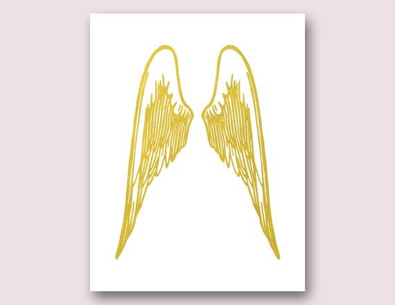 Angel Wings Wall Decor Angel Wings Print Gold Wings Print