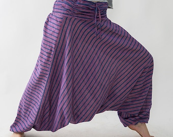 Harem pants unisex, purple/blue striped