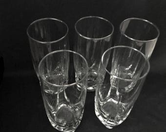 Five Vintage Highball Tumblers with Square Base and Scallop Design on Each Side