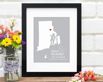 First Anniversary Gift, Rhode Island Map Personalized, Paper Anniversary, New England Bridal Shower, Belated Wedding Gift  - Art Print