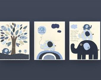 Nursery tree Art Print, Baby Boy Nursery Print, Boy Nursery Art, Harper, kids room art,  Set of 3 Prints, Indigo Blue, White Elephant
