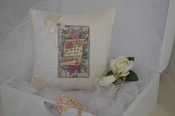 "Wedding Ring Bearer Pillow ""One Summer's Day"""