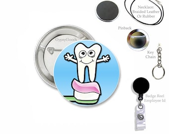 """1.50"""" SMILE! Teeth, Tooth, Dentures, Crown 1.50 Inch Buttons Pin Back, Key Chain, Ring, Magnet, Badge Reel Dental Hygienist, Dentist Work ID"""