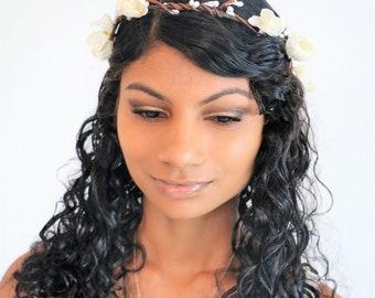 White bridal hair crown, Floral white tiara, christening hair accessory, wedding hair wreath, simple white hair headband, boho bride
