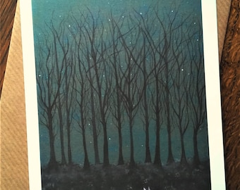 The Hare ran through Starlit Woods Blank Art Greeting Card - Illustration/Stars/Trees/Night/Hares/White Hare/Ethereal/Hare Card/Running Hare