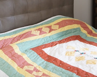 Vintage Full Size Patchwork Hand Embroidered Quilt