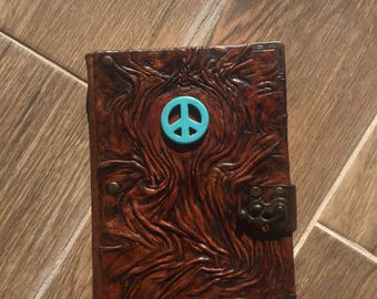 Leather Journal, Leather Notebook, Embossed Leather, Peace, Gift Idea