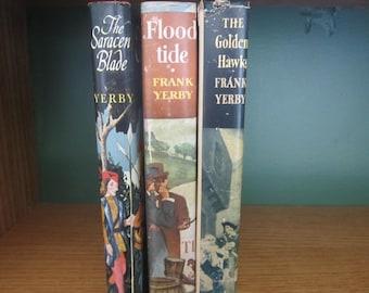 3 Frank Yerby Novels,The Saracen Blade,Floodtide,The Golden Hawk,1950s novels,historical fiction,1950s romance novel,vintage library decor