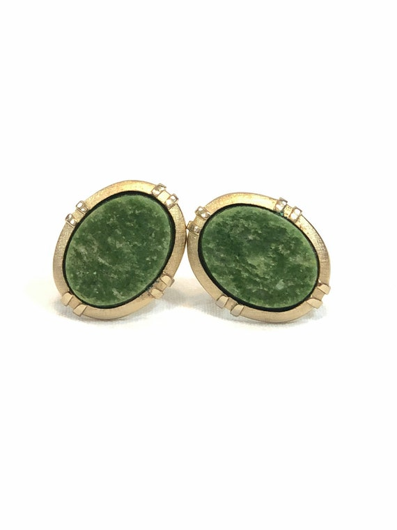 Large Oval Cufflinks, Brushed Goldtone Green Quartz , Art Deco Styling, Men's Statement Jewelry, Weddings Occasion 1960s Vintage