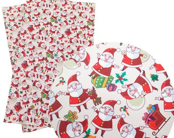 Santa, Christmas, Pattern, Faux Leatherette Sheet, Size 8 x 13in, Synthetic, Leather, Pleather, Craft, Hairbow