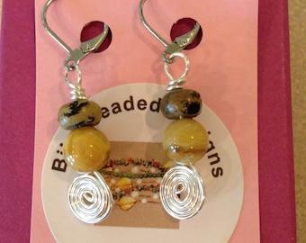Honey Jasper Spiral Dangle Earrings