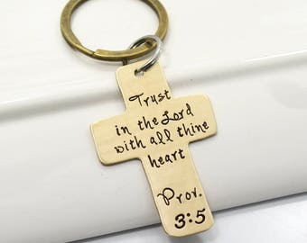 Cross Keychain Customized with Bible Verse or Quote | Hand Stamped Cross Keychain