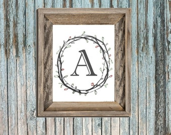 Typography - Wall Art - Letters - Printable Nursery - Entry Monogram - Simple Classic Initials - Girl Bedroom Art - College Sheet