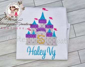 Princess Castle Shirt for Girls, Personalized, Embroidered, Applique, Monogrammed, Newborn Bodysuit, Princess Castle, Vacation