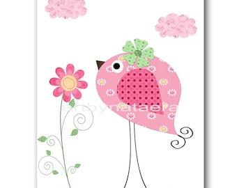 Bird Nursery Baby Nursery Decor Baby Girl Nursery Kids Wall Art Kids Art Baby Room Decor Nursery Print Girl Print Bird Rose Green Pink