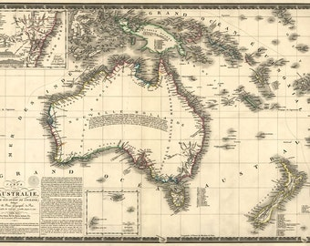 MP57 Vintage 1826 Historical Antique Old Map Of Australia Poster Re-Print Wall Decor A1/A2/A3