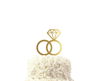 Wedding cake topper, with wedding rings, cake topper, 30 colors available, custom made cake topper