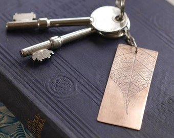 Copper Keyring with Leaf Imprint - copper anniversary gift - 7th wedding anniversary gift - garden keyring - by Louise Mary Designs