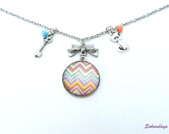 Necklace, cabochon, zigzag, geometric, multicolored, node, keys, cats, orange and blue beads