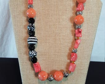 Coral and black necklace