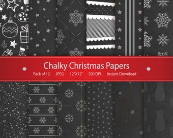 Christmas Digital Paper: Chalky Christmas Papers Printable Design Instant Download Scrapbooking Collection - Xmas Stockings Snowflakes Stars