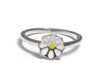 Children's Ring of 925 sterling silver with daisies