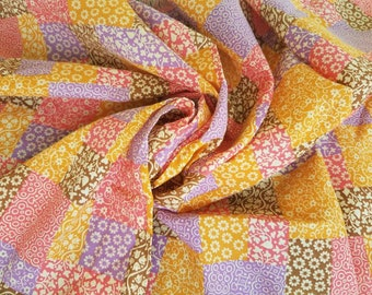 Retro Calico Upholstery Fabric - Bright Vintage Sewing Matetial, Blocked Calico Floral Pattern, Heavy Cotton, Recovering Vintage Furniture