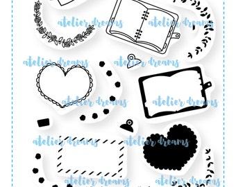 AD-041 DECORATIVE FRAMES - 4X6 - Photopolymer Planner Stamps - planner stamp, floral border, heart frame, mail stamp