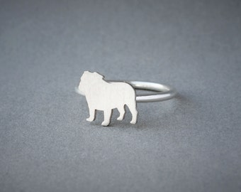 ENGLISH BULLDOG RING / English Bulldog Ring / Silver Dog Ring / Dog Breed Ring / Silver, Gold Plated or Rose Plated.
