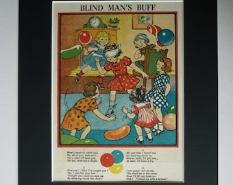 1955 Vintage Print Of Blind Man's Buff - Birthday Party Game - Retro 1950s - Old Children's Illustration - Colourful Picture - Matted Print