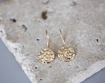 Earrings gold 24 k / hammered earrings / Locket earrings / mothers day gift