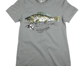 Skeleton Fish: ORGANIC Cotton American Apparel Ladies Tee