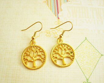 TREE EARRINGS in gold tone - gold plate surgical stainless steel ear wires - hypoallergenic, sensitive ears earring wires