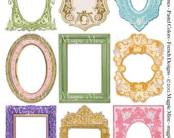 Springtime Frames Collage Sheet - Easter Spring - Light French Pastel Colors - Instant Digital Download - Printable