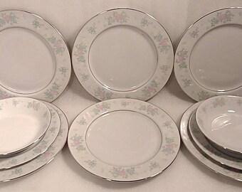"Vintage China Dinnerware Set ""China Garden Prestige"" Guo Guang set of 10"