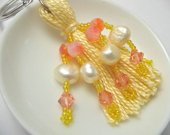 Yellow and Pink Beaded Tassel Keyring with Pearls and Crystals