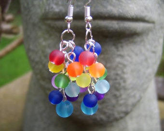 Rainbow Earrings. Multi Coloured Earrings. Frosted Glass Bead Earrings. Dangly Earrings. Cluster Earrings. Festival Earrings. Gift For Her.