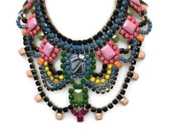ROSABOTANICAL hand painted rhinestone super statement necklace