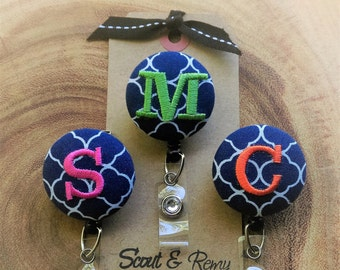 Monogram Badge Reel, Retractable Badge Reel, Badge Holder