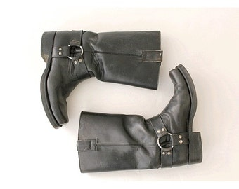 GoWest leather biker boots  euro 41  Us men 7.5 Black leatherToe Harness boots