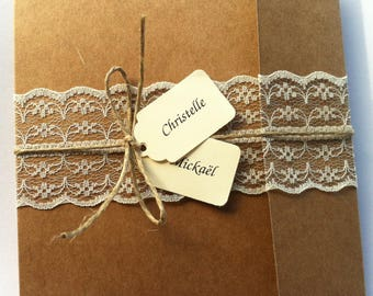 Kraft wedding invitation and lace fine and label names