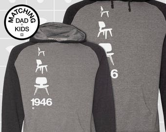 Matching Dad and Me Shirts, Eames Chair, Father Son Matching Shirts, Men's Hoodie, Boys Hoodie, Girls Hoodie, Dad Gift
