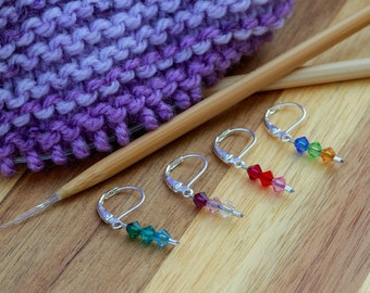 Genuine Swarovski crystal stitch markers for knitting/crochet