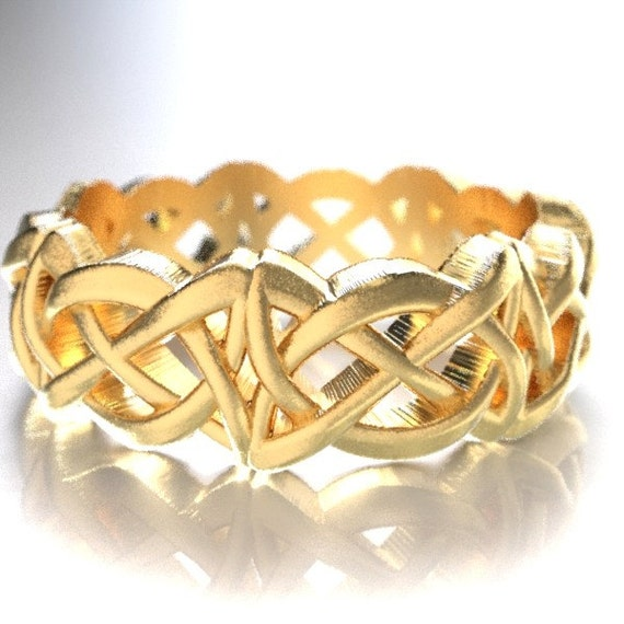 Gold Celtic Cut-Through Dara Style Knot Design in 10K 14K 18K or Palladium, Made in Your Size Cr-1063